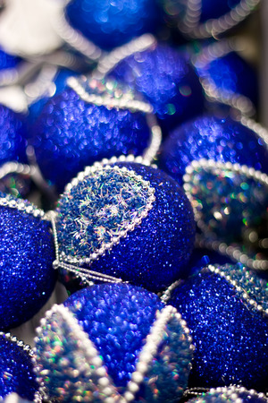 Blue Christmas balls in box. New Year decor. Stock Photo
