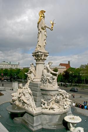 Pallas Athene Fountain in Vienna, Austria Stock Photo