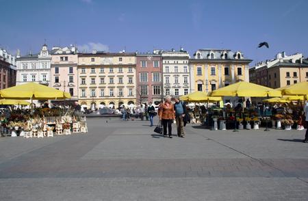 Tourists walking through the streets of Krakow, Poland
