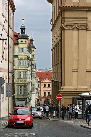 Tourists walking through the streets of Prague, Czech Republic Editorial