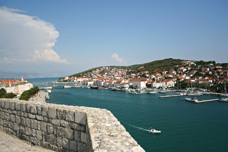 Coast of the city Trogir, Croatia. The view from above. Stock Photo