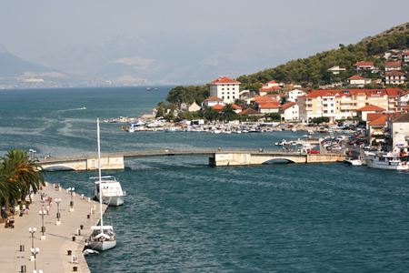 Coast of the city Trogir, Croatia. The view from above. Standard-Bild