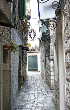 Old street of the city of Trogir, Croatia Stock Photo