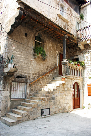 Old street of the city of Trogir, Croatia Stock Photo