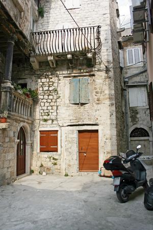 Motor scooter at the street of the city of Trogir, Croatia