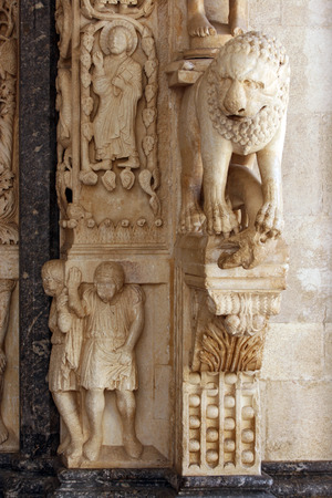 Sculpture on the facade of the Cathedral of St. Lawrence in Trogir, Croatia Stock Photo