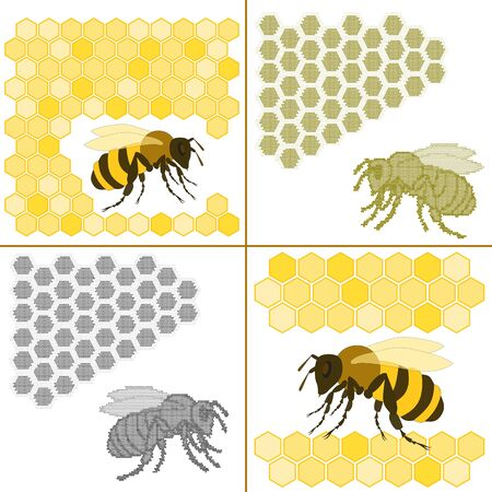 Set of four backgrounds of hand drawn bee and honeycomb
