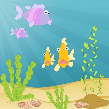 Cute hand drawn cartoon illustration. Sea creatures under the water. Tropical sea life design. Illustration
