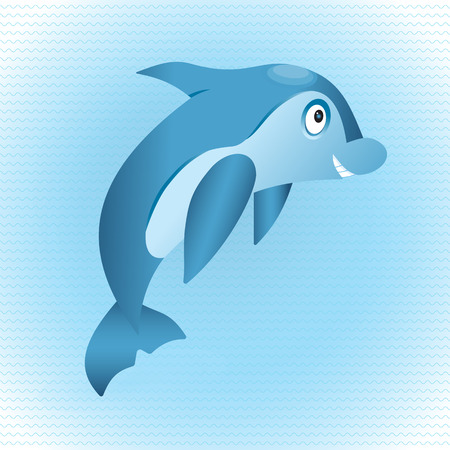 Cute hand drawn dolphin. Tropical sea life design. Иллюстрация