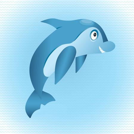 Cute hand drawn dolphin. Tropical sea life design. Illustration