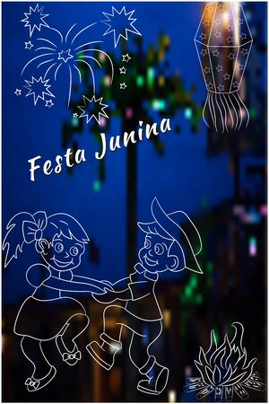 Cute hand-drawing Festa Junina vector elements on blurred, night time background. Latin American holiday, the June party of Brazil, St. John's Party. Can be used for cards, invitations, wallpaper, pattern fills, web design, surface textures. Vectores