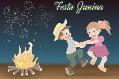Cute hand-drawn dancing children, bonfire and fireworks. Festa Junina vector elements on night time background. Latin American holiday, the June party of Brazil, St. John's Party.