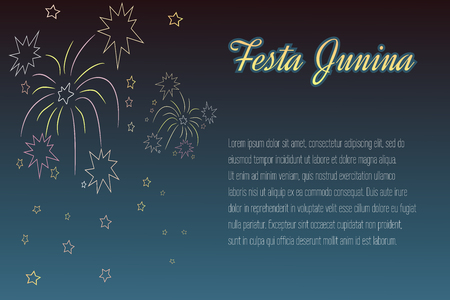 Hand-drawing Festa Junina elements on night time background with place for text. Latin American holiday, the June party of Brazil, St. John's Party. Can be used for cards, invitations, web design. Vectores