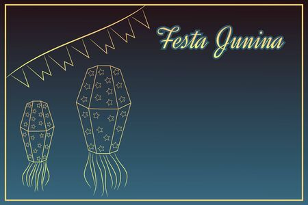 Handdrawing Festa Junina elements on night time background with place for text. Latin American holiday the June party of Brazil St. John's Party. Can be used for cards invitations web design.