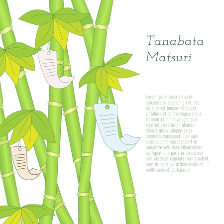 Japanese traditional summer Star Festival  Tanabata Matsuri hand-drawn bamboo tree with wishes written on Tanzaku. Elements on white background Illustration
