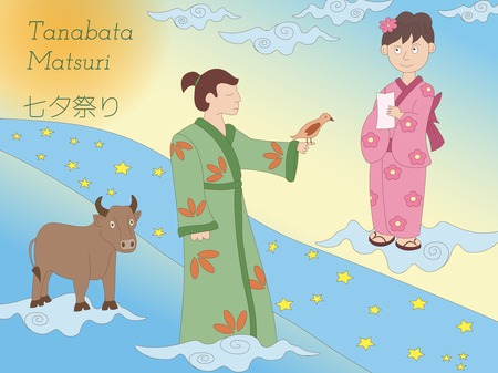 Hand-drawn Milky Way, couple and cow. Japanese folklore. Tanabata legend.