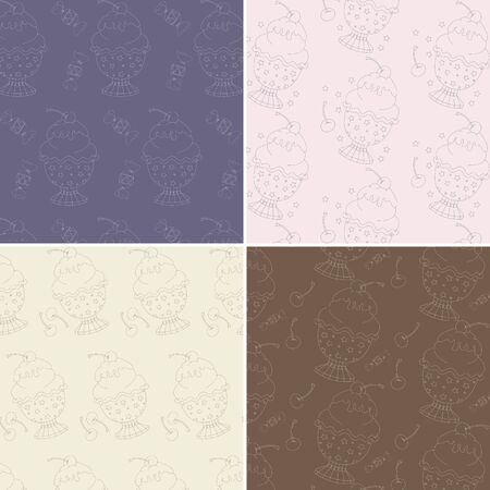 Set of four seamless patterns with cute hand drawn ice cream illustrations. Perfect for cards, invitations, web design, wallpaper, pattern fills, wrapping, background, surface textures and more.