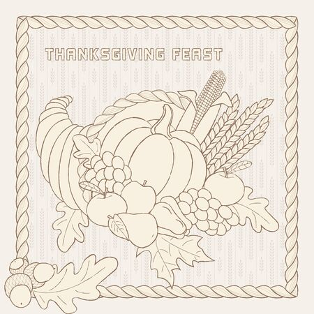 Vector template with hand drawn Thanksgiving elements. Perfect for banners, cards, invitations, menu, flyers and more. Stock Illustratie