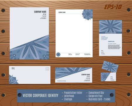 compliment: Collection of corporate identities: presentation folder, letterhead, envelope, compliment slip, corporate flyer, business card on wood texture. Brand, visualization set.  Indian, Arabic, Islam motifs.