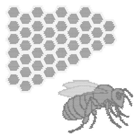 Cute hand drawn bee and honeycomb on white background. Can be used for cards, invitations, web design, wallpaper, background, surface textures and more.