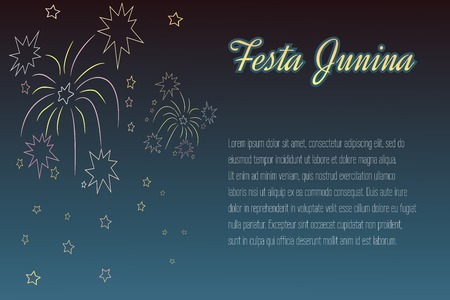 night time: Hand-drawing Festa Junina elements on night time background with place for text. Latin American holiday, the June party of Brazil, St. John Party. Can be used for cards, invitations, web design. Illustration