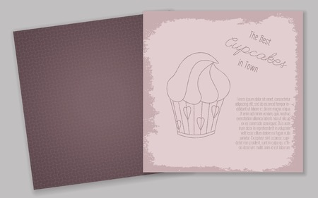 old fashioned menu: Set of templates with cute hand drawn cupcake illustrations. Restaurant or cafe branding elements. Perfect for banners, greeting cards, invitations, menu, flyers and more. Illustration