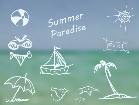 ocean background: Beach elements on blurred ocean background. Doodle sketch design elements mega vector illustration set. Decorative background for cards, invitations, posters, cards, web design and more. Illustration