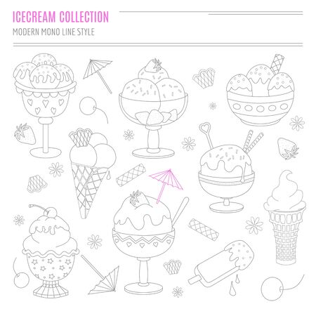 sundaes: Collection of hand drawn ice cream treats in modern mono line style on isolated white background. Cartoon cones, sundaes, popsicles and ice cream made in doodle style.
