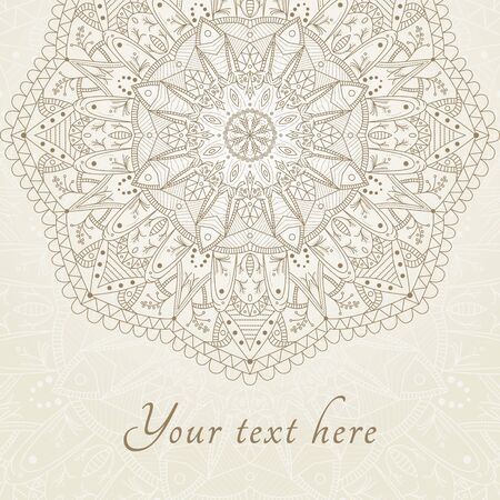 Abstract floral henna Indian Mehndi card with text. Mandala -round vector ornament. Vector background. Indian, Arabic, Islam motifs. Mandala vintage design element.