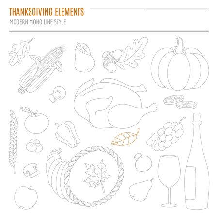 Set of hand drawn Thanksgiving attributes in modern mono line style on white background. Each element is isolated, easy to use in your own design.