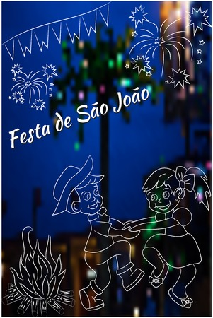 night time: Cute hand drawing of  Festa Junina vector elements on blurred, night time background. Latin American holiday, the June party of Brazil, St. John Party. Can be used for cards, invitations, wallpaper, pattern fills, web design, surface textures. Illustration