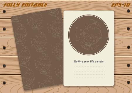 Template (front and back) with cute hand drawn ice cream art on planked wood. Perfect for banners, greeting cards, invitations, menu, flyers and more. Bonus: seamless pattern in swatches panel. Ilustrace