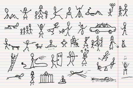 ladder  fence: People in motions. Big group of unrecognizable people.  Doodle sketch design elements mega vector illustration set. Decorative background for cards, invitations, web design.