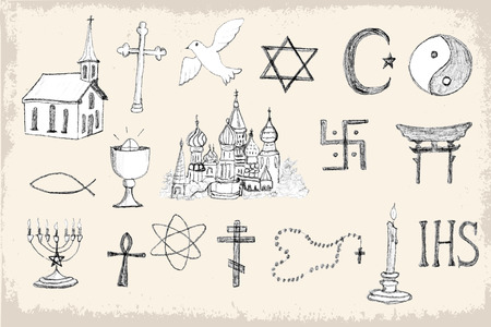Mega collection of doodle, pencil sketch religion elements. Vector illustration set for cards, invitations, web design, pattern fills, background, surface textures and more.