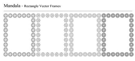Ensemble de quatre Mandala, cadres vectoriels rectangle sur fond blanc. Vintage objets géométriques décoratifs. Tiré par la main des éléments spirituels et méditation vintage. Banque d'images - 43668226