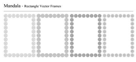 Ensemble de quatre Mandala, images de vecteur rectangle sur fond blanc. objets géométriques décoratifs d'époque. vintage tiré par la main des éléments spirituels et méditation. Banque d'images - 43668228
