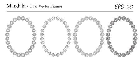 Ensemble de quatre Mandala, cadres vectoriels ovales sur fond blanc. Objets géométriques décoratifs vintage. Éléments spirituels et de méditation vintage dessinés à la main. Banque d'images - 43668230