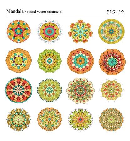 Ensemble de seize Mandala -ROUND vecteur ornements sur fond blanc. Vintage objets décoratifs cercle géométriques. Tiré par la main des éléments spirituels et méditation vintage. Motifs ottomans. Banque d'images - 43668232