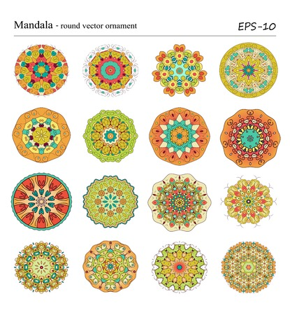 Set of sixteen Mandala -round vector ornaments on white background. Vintage decorative geometric circle objects. Hand drawn vintage spiritual and meditation elements. Ottoman motifs. Ilustração