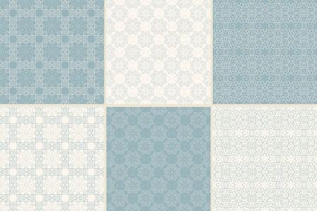 Conjunto de patrones sin fisuras ornamentales con ornamentos árabes tradicionales. Antecedentes en el estilo islámico. La textura del vector abstracto. Foto de archivo - 43668234
