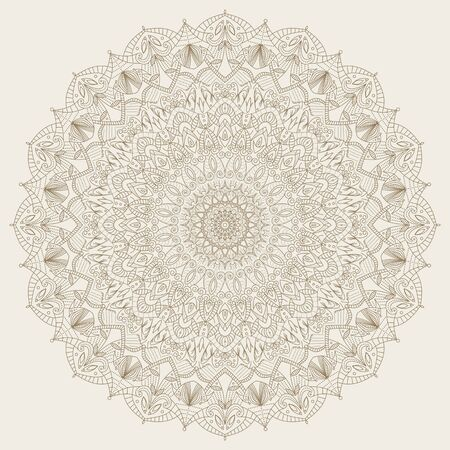 mandala: Vector abstract radial Indian symbol. Vintage spiritual and meditation icon. Graphic template for your design. Lace ornament. Indian, Arabic, Islam, ottoman motifs. Complex, detailed mandala - round vector ornament. Illustration