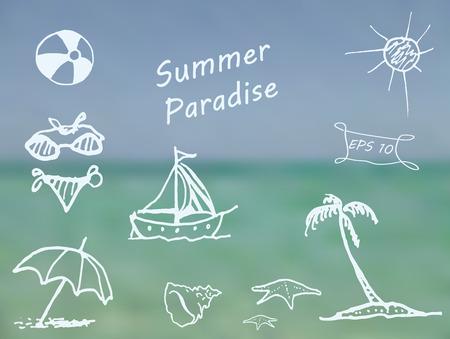 Beach elements on blurred ocean background. Doodle sketch design elements mega vector illustration set. Decorative background for cards, invitations, posters, cards, web design and more. Illustration