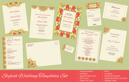 Stylish Wedding vector Templates Set: Announcement, Invitation, Save the Date Card, RSVP Card, Thank You Card, Menu, Envelope, Wedding Program, Rehearsal Dinner Invitation, Address Label. 向量圖像