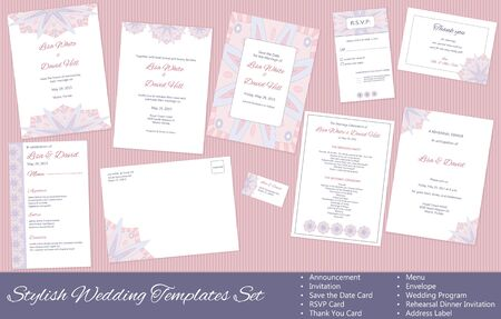 Stylish Wedding vector Templates Set: Announcement, Invitation, Save the Date Card, RSVP Card, Thank You Card, Menu, Envelope, Wedding Program, Rehearsal Dinner Invitation, Address Label. Illustration