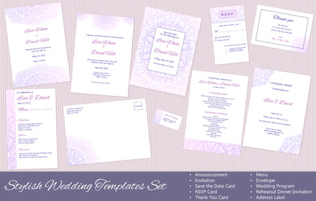 dinner date: Stylish Wedding vector Templates Set: Announcement, Invitation, Save the Date Card, RSVP Card, Thank You Card, Menu, Envelope, Wedding Program, Rehearsal Dinner Invitation, Address Label. Illustration