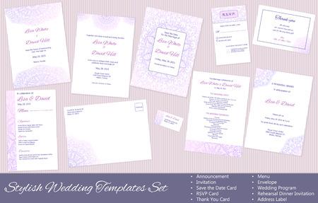 Stylish Wedding vector Templates Set: Announcement, Invitation, Save the Date Card, RSVP Card, Thank You Card, Menu, Envelope, Wedding Program, Rehearsal Dinner Invitation, Address Label. Иллюстрация