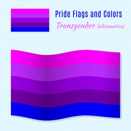 sex discrimination: Transgender pride flag with correct color scheme, both still and waving. Gay culture symbol.