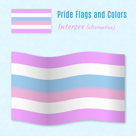 sex discrimination: Intersex pride flag with correct color scheme, both still and waving. Gay culture symbol.