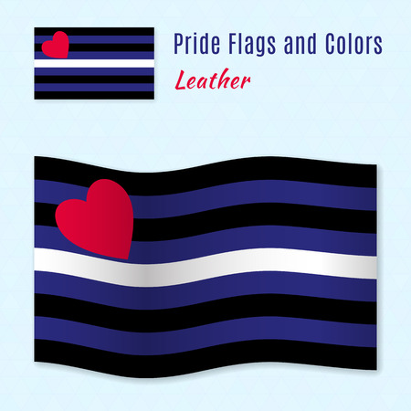 homosexual sex: Leather pride flag with correct color scheme, both still and waving. Gay culture symbol.