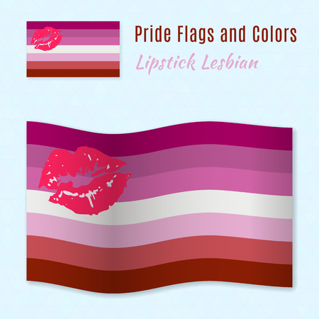 romantic sex: Lipstick Lesbian pride flag with correct color scheme, both still and waving. Gay culture symbol.